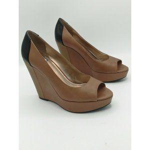 BCBG Paris PL Irinax Peep Toe Wedge Sandals Heels